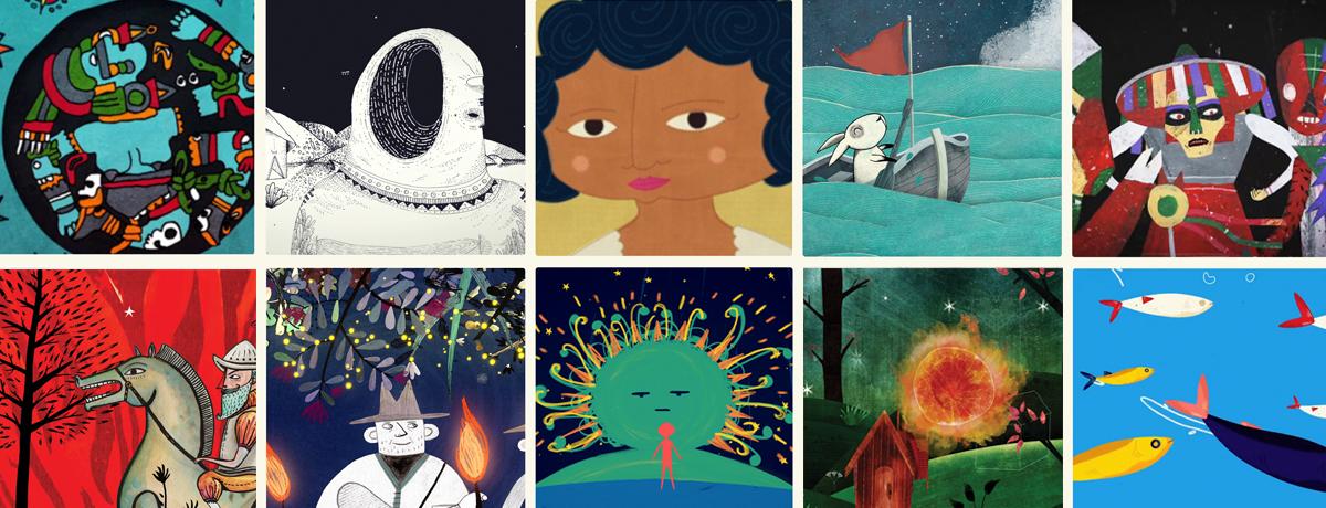 Immagini tratte da 68 voces-68 corazones serie animata messicana ideata da Gabriela Badillo, ispirata alle favole delle comunità native messicane