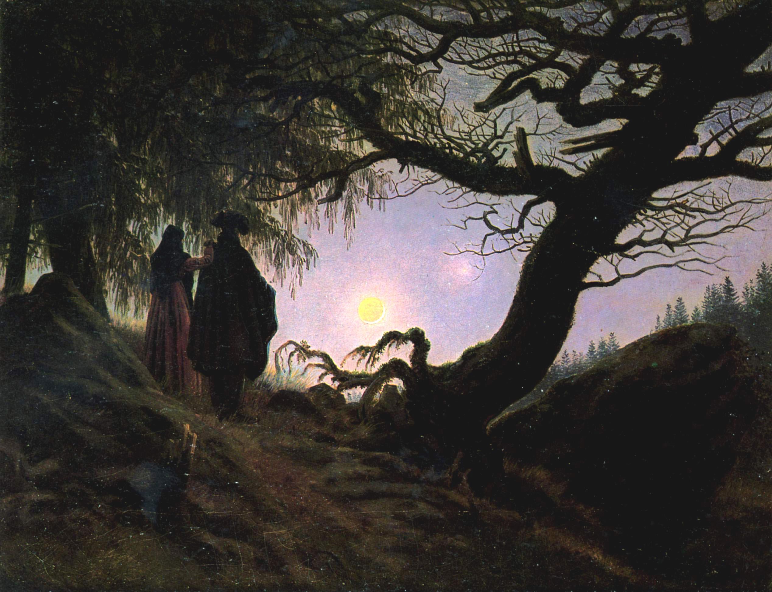 Il fascino della luna piena in questo quadro di Caspar David Friedrch